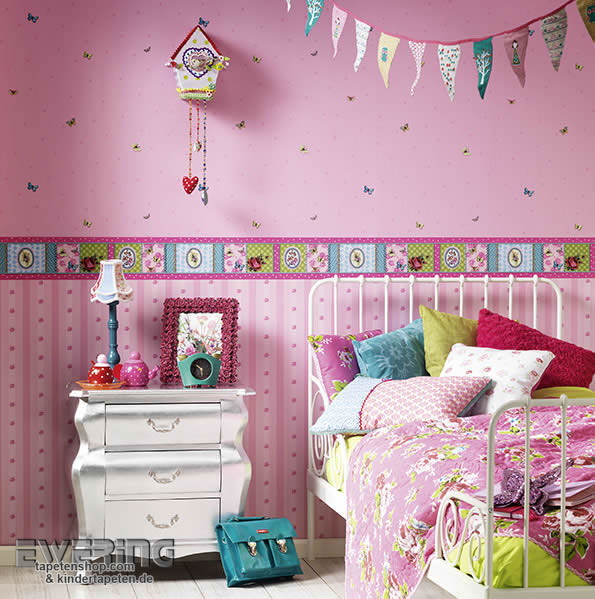 be happy fr hlich bunte tapeten f r kleine und gro e m dchen ewering blog. Black Bedroom Furniture Sets. Home Design Ideas