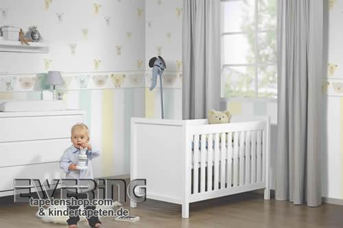 Eulen und Bären auf Tapete für das Baby- und Kinderzimmer – Happy ...