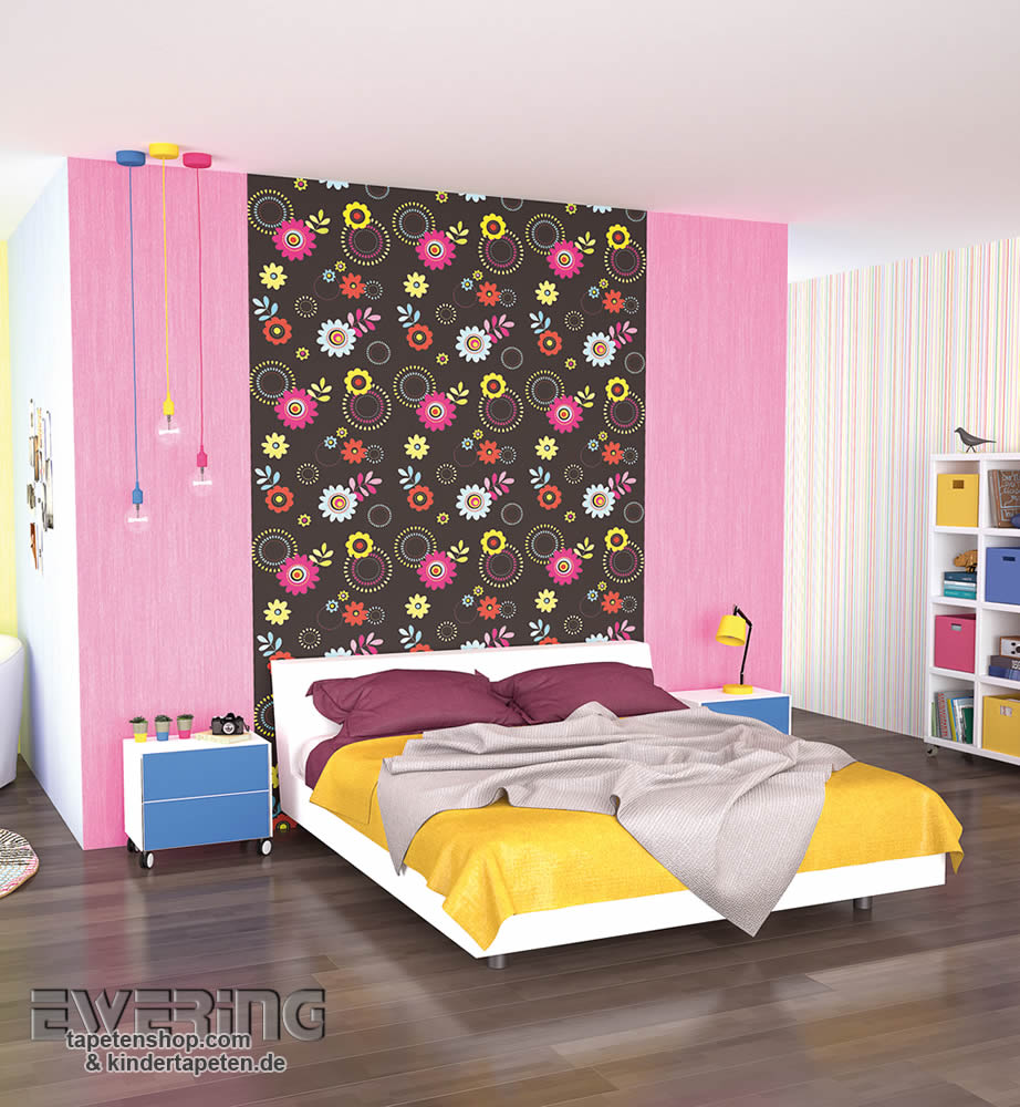 bunte bl mchen tapeten versch nern das m dchen zimmer x treme color von p s international. Black Bedroom Furniture Sets. Home Design Ideas