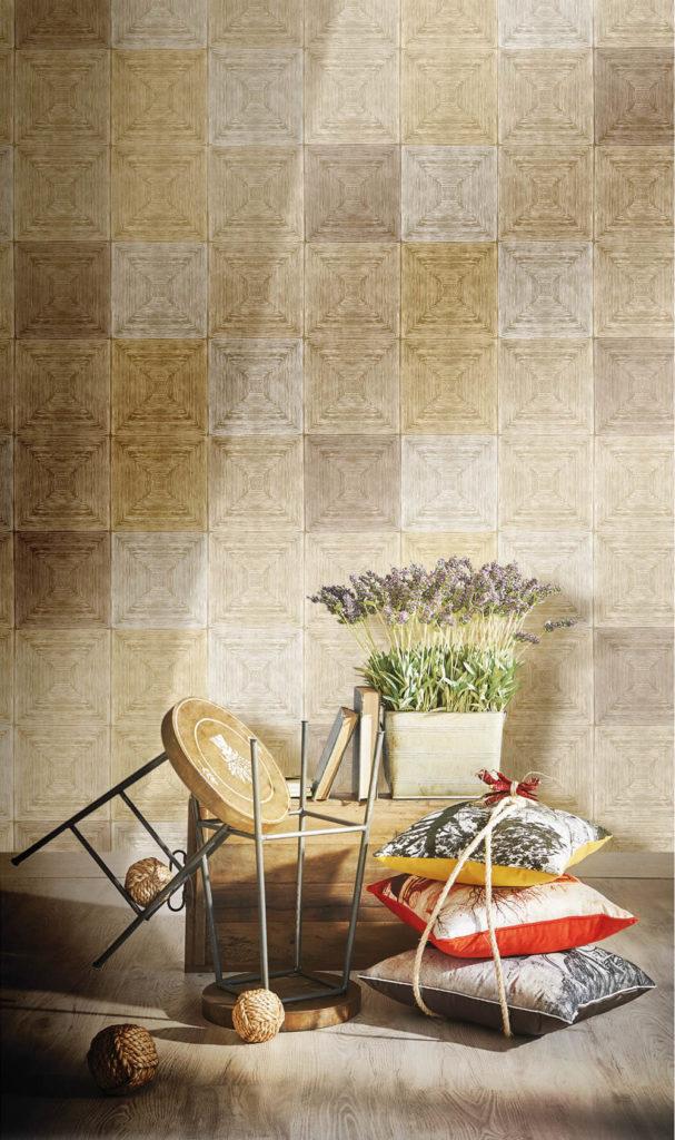 Quadrate grafisches Muster beige braun Rasch Textil Ambrosia