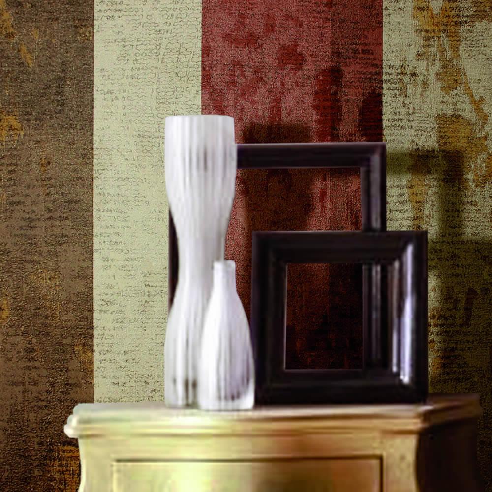 Streifen braun rot beige glänzend naturtöne Rasch Textil Ambrosia