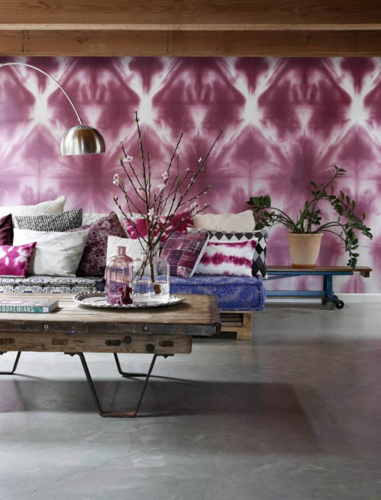 Batikmuster pink weiß Vliestapete Rasch Textil Boho Chic