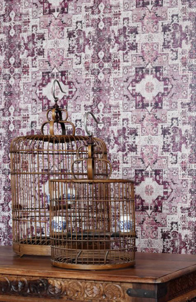 Bohemianmotiv aubergine Vliestapete Rasch Textil Boho Chic