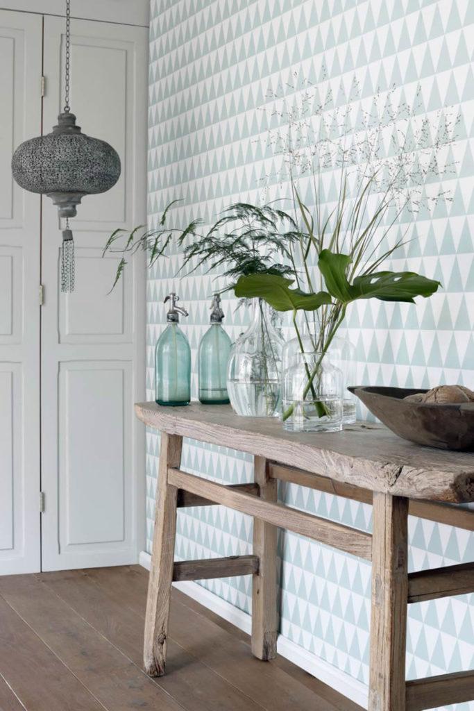 Dreiecke grafisches Muster weiß fjordgrün Vliestapete Rasch Textil Boho Chic