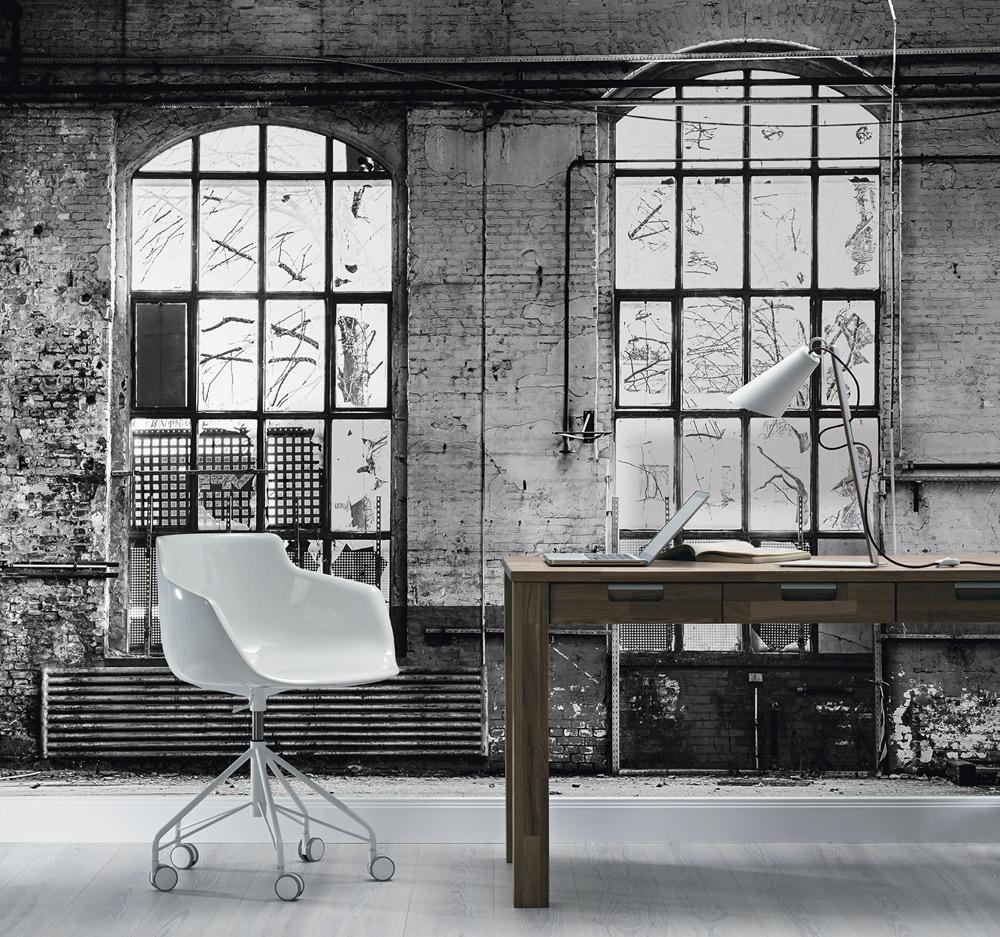 Grau Factory Industrial Style Vliestapete Fototapete Fabrik Steinwand Fenster