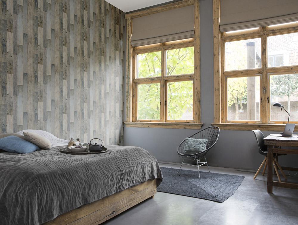Vliestapete Unitapete Holzoptik Vliestapete grau Schlafzimmer