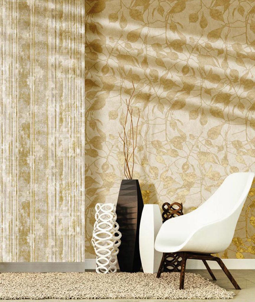 Florales Muster Ranken gold beige Holzoptik Vliestapeten Rasch Textil Concetto