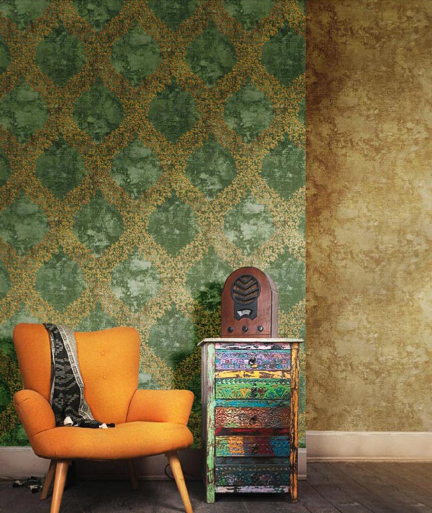 Ornament Muster gold grün Vliestapeten Rasch Textil Concetto