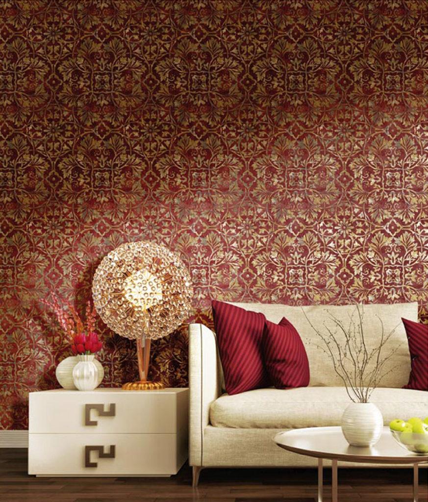 Ornament gold rot Vliestapete Glanz Rasch Textil Concetto