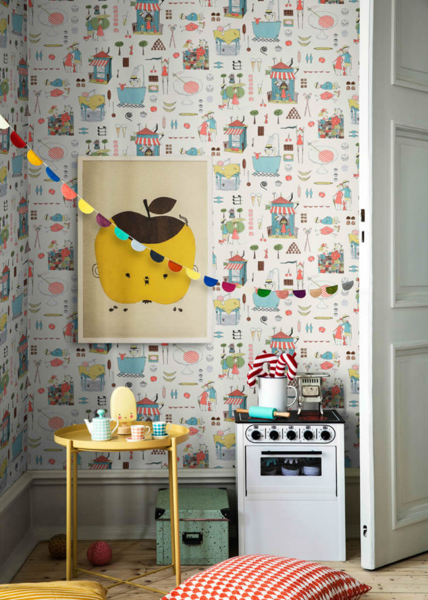Kinderzimmer Spielecke bunte Vliestapete Comic BN/Voca Borastapeter Scandinavian Designers Mini