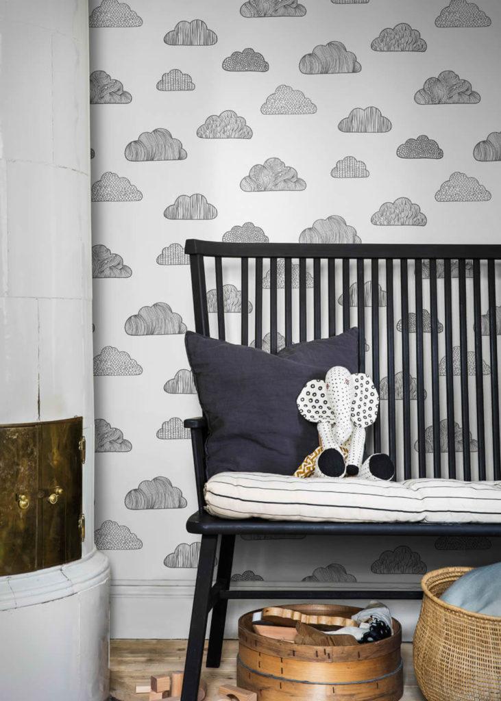 BN/Voca Wolken Kinderzimmer schwarz weiß Vliestapete Scandinavian Designers Mini Borastaepeter