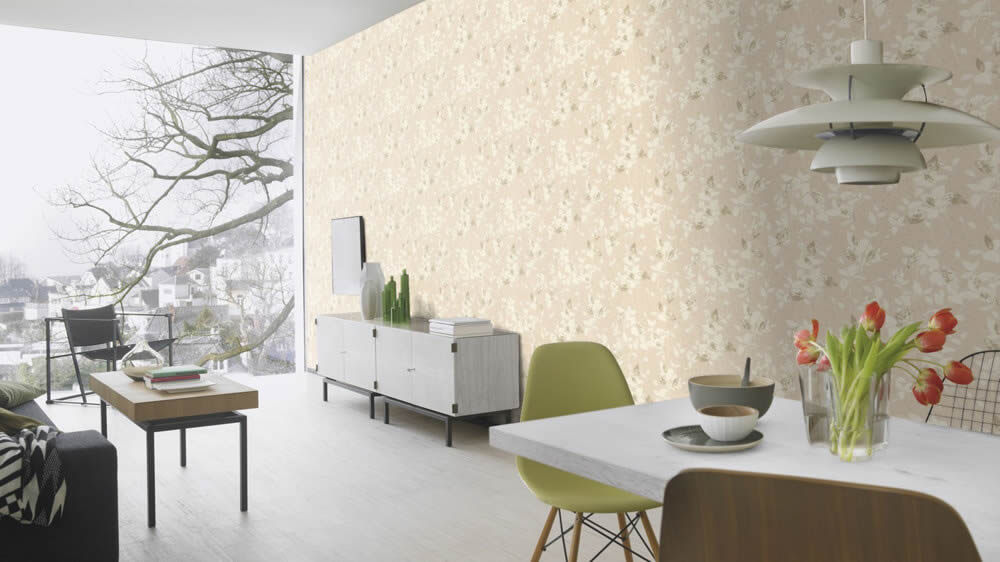 Uptown Rasch Vliestapete Blumenmotiv Mustertpaete beige Wohnzimmer Esszimmer Wohnbereich