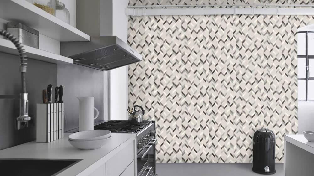 Vliestapete Rasch Uptown grau weiß schwarz grafisches Muster Küche Tapete