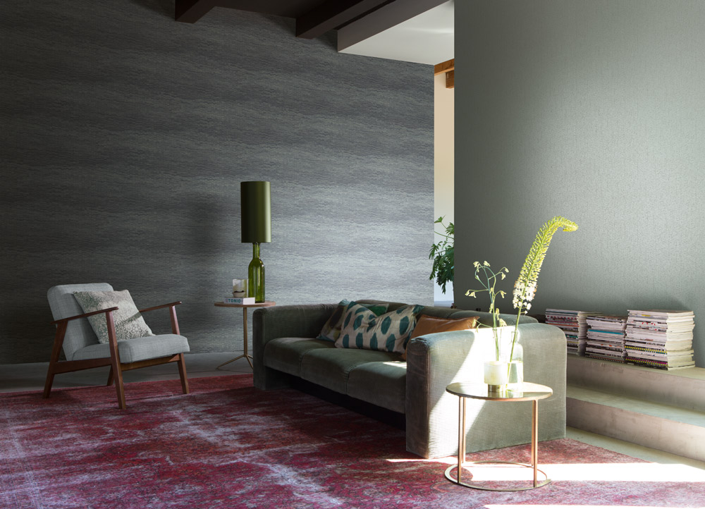 Wohnzimmer Mustertapete grau dunkelgrau Unitapete glänzend Rasch Textil Abaca