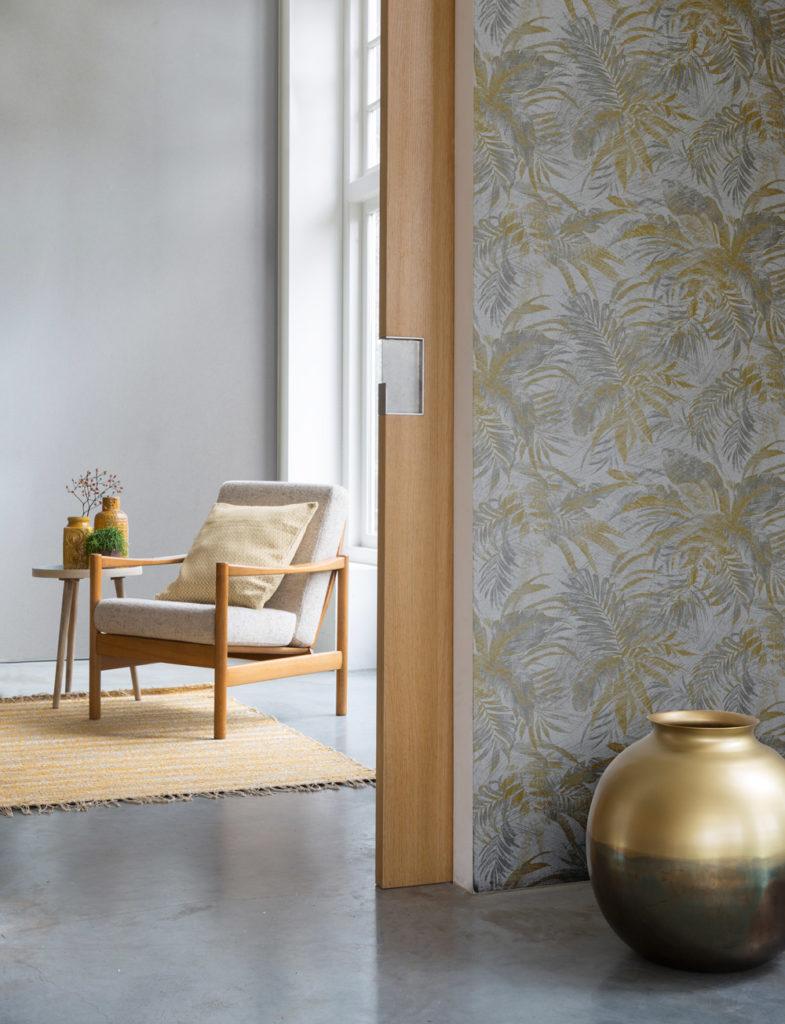 Mustertapete floral Blattmotiv gold silber Wohnbereich Abaca Rasch Textil