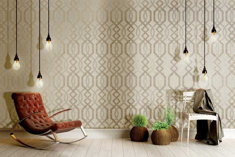 Grafisches Muster Motivtapete Vliestapete Rasch Textil Fibra hellbeige im Wohnzimmer