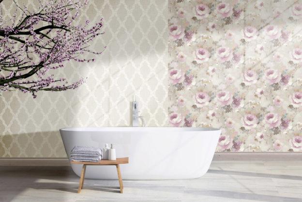 Badezimmer Vliestapeten Muster Blumen Ornamente rosa beige floral