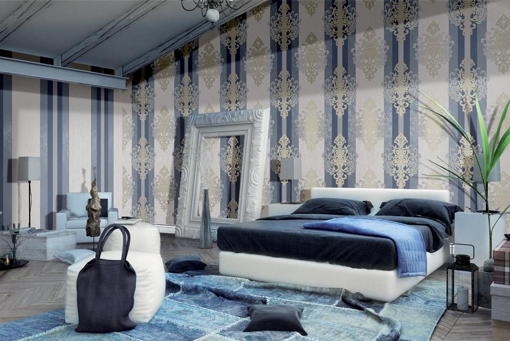 Streifentapeten blau Ornamente Kombination Vliestapeten Schlafzimmer