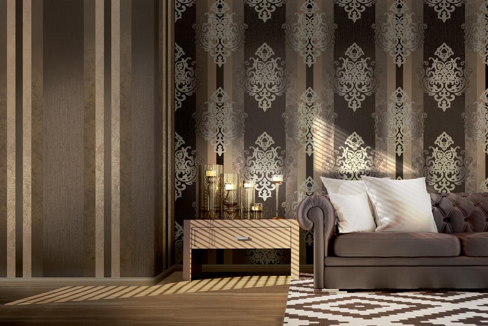 Streifentapete Ornament kaffeebraun dunkelbraun Wohnzimmer Vliestapeten