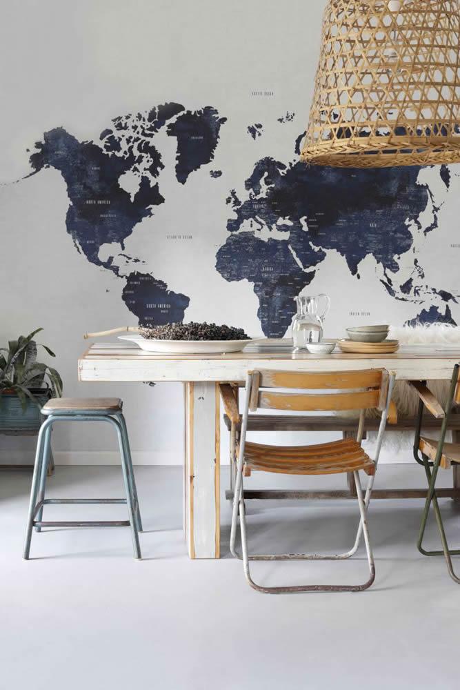 Wandbild dunkelblau Weltkarte weiß Vliestapete Rasch Textil Regatta Crew Surf Edition Jugendzimmer