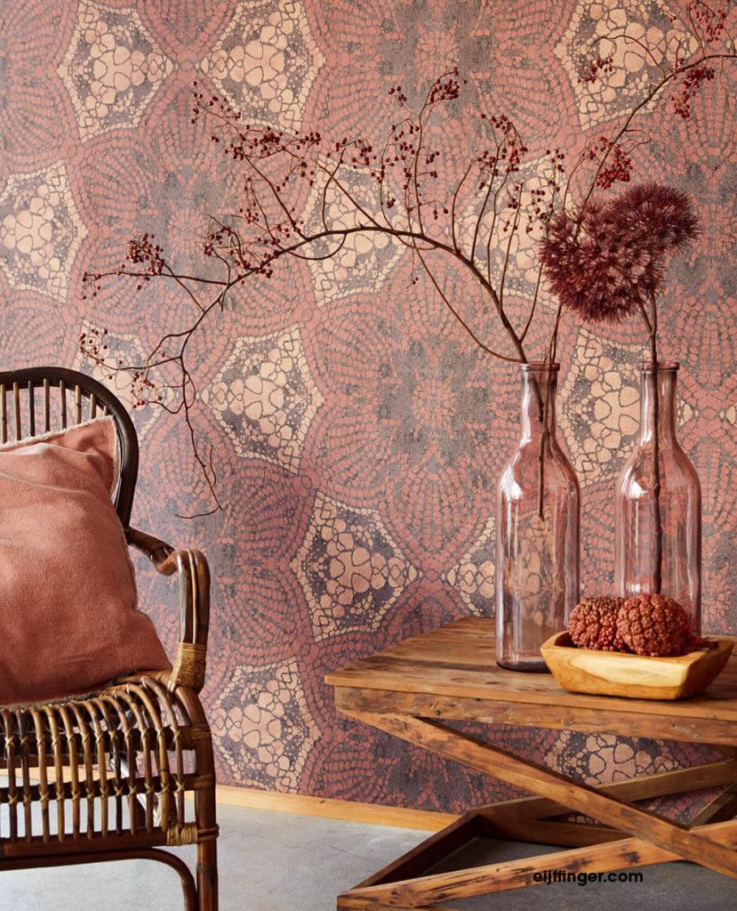 Eijffinger Siroc Wohnzimmer Vliestapete glänzend Blumen Mustertapete rot terrakotta