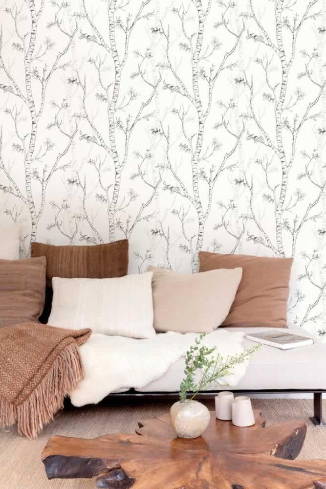 Birkenstämme skandinavisches Design hell weiß Wohnzimmer Grandeco Nordic Elegance